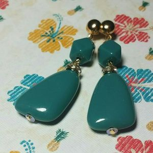 Polygon Rocky Bead Dark Teal Dangle Earrings